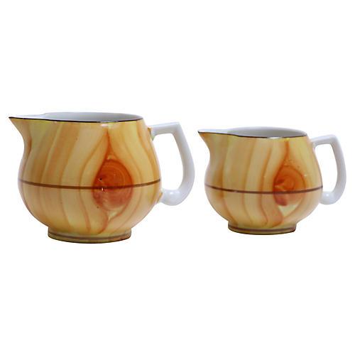 Faux Bois Porcelain Jugs, Pair