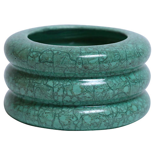 Teal Art Pottery Cylindrical Vase