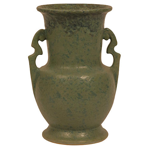 Green Arts & Crafts Period Urn-Syle Vase