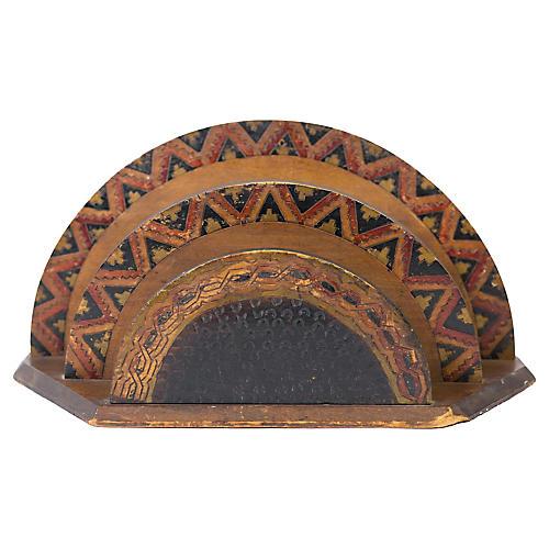 Hand-carved Folk Art Desk Letter Holder