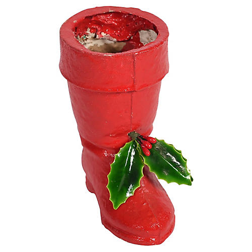 Papier Mache Boot Candy Container