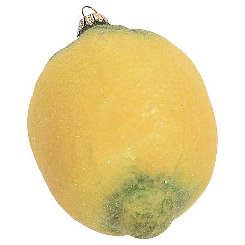 Glass Lemon Ornament w/ Venetian Dew