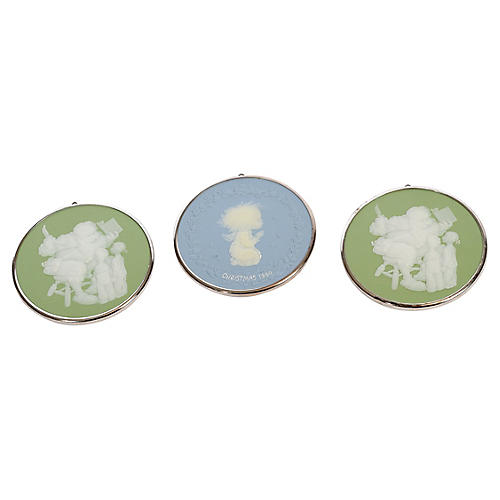 Trio of Norman Rockwell Disc Ornaments