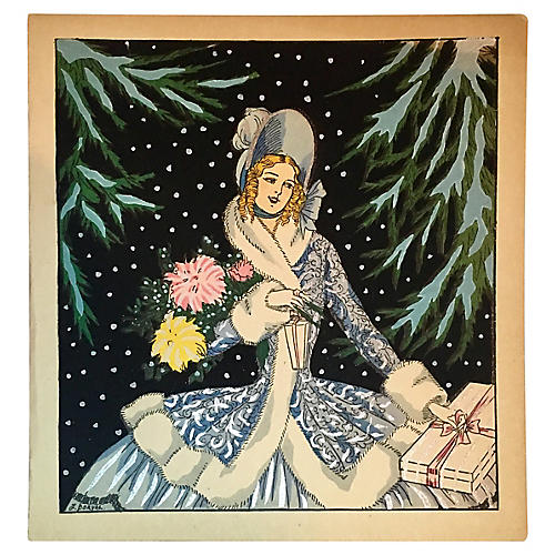 1920s French Hand-Colored Christmas Card
