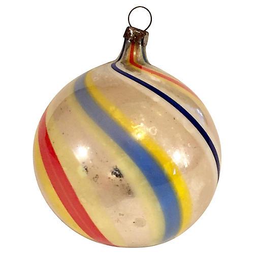 Antique Striped Mercury Glass Ball