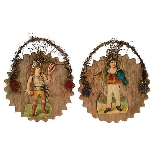 Antique Paper & Tinsel Ornaments, Pair