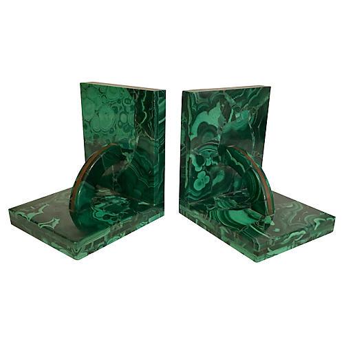 Malachite & Bronze Bookends, Pair