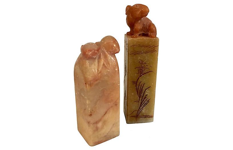 Chinese Alabaster Wax Seals, Pair