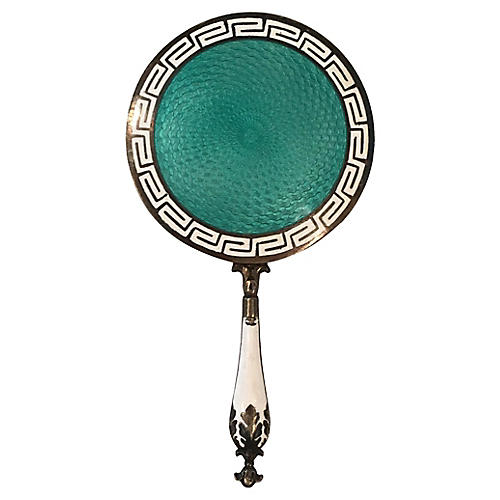 Sterling Silver Enamel Greek Key Mirror