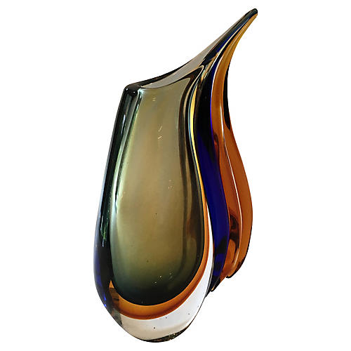 Murano Art Glass Modernist Wave Vase