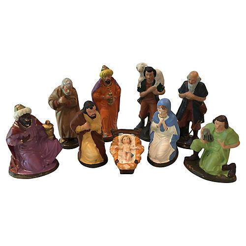 Papier Mache German Nativity Figures S/9