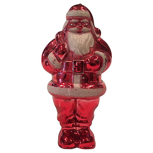 Large Metallic Red Santa Candy Container