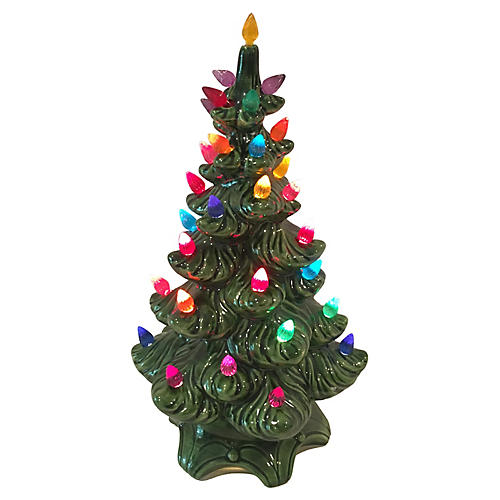 Green Ceramic Tree, Multicolored Lights