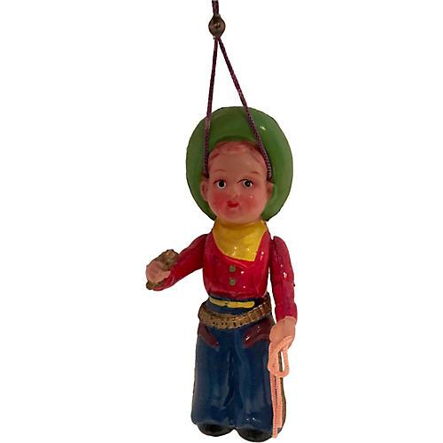 1950s Celluloid Cowboy Ornament