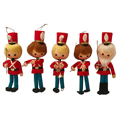 Toy Soldier Band Ornaments S/5
