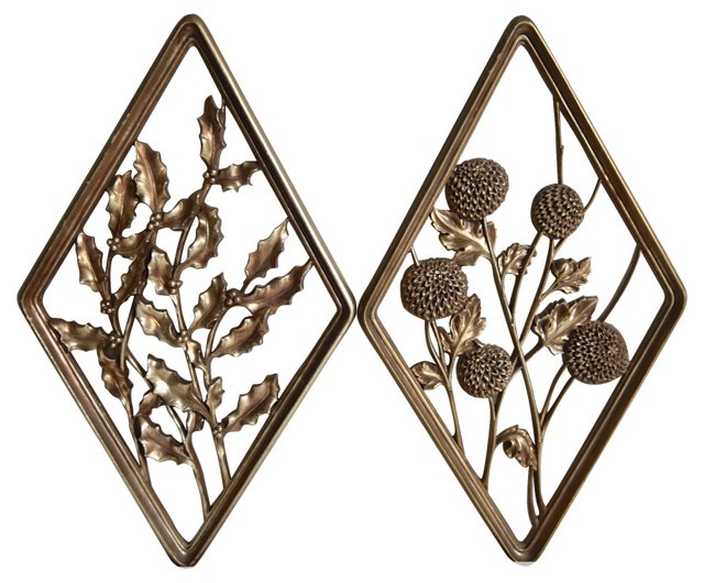 Gold Syroco Wall Plaques, Pair