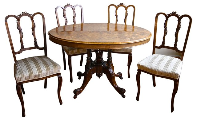 Victorian Game Table & 4 Chairs
