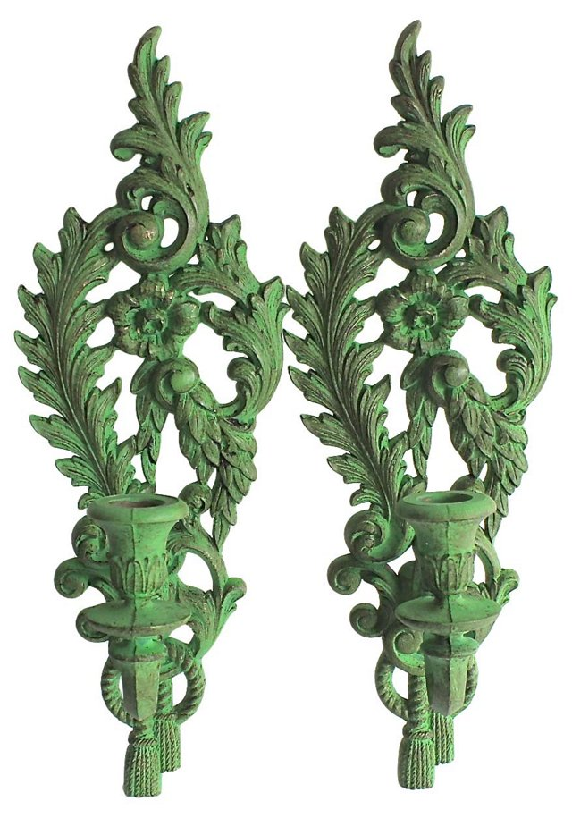 Green Candle Sconces, Pair