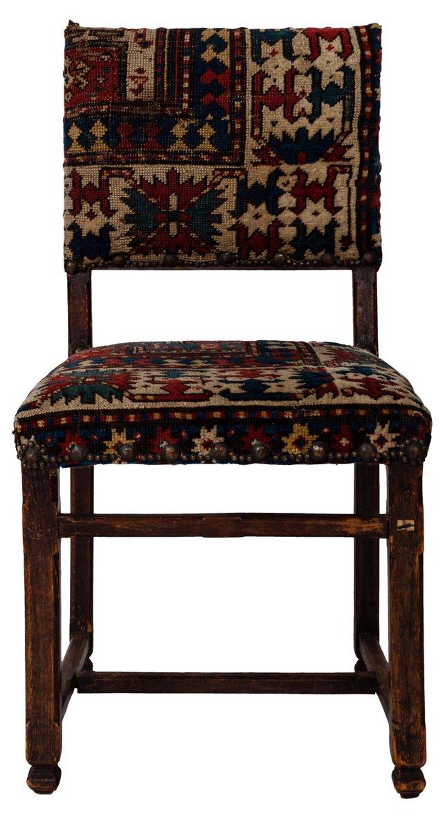 Tudor-Style  Chair w/ Rug Upholstery