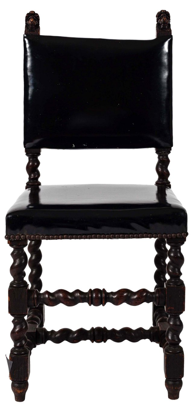Patent Leather Lion-Heads Chair