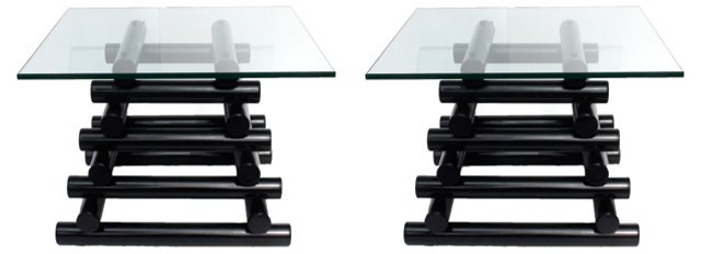Black Lacquer Pyramid Tables, Pair