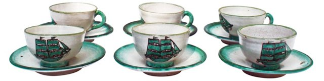 Italian Ship Cups & Saucers, S/6