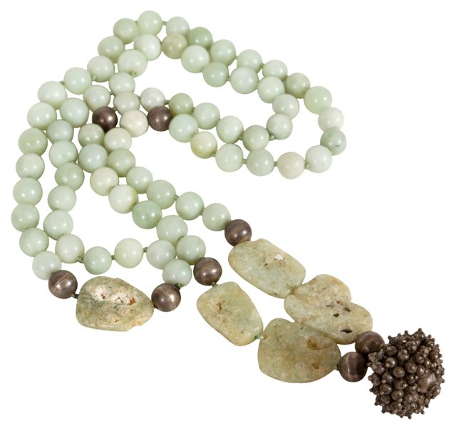 Jade & Silver Runway Length Necklace