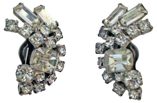Rhinestone Crescent Earrings