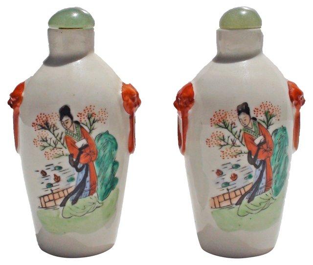 Porcelain Snuff Bottles, Pair