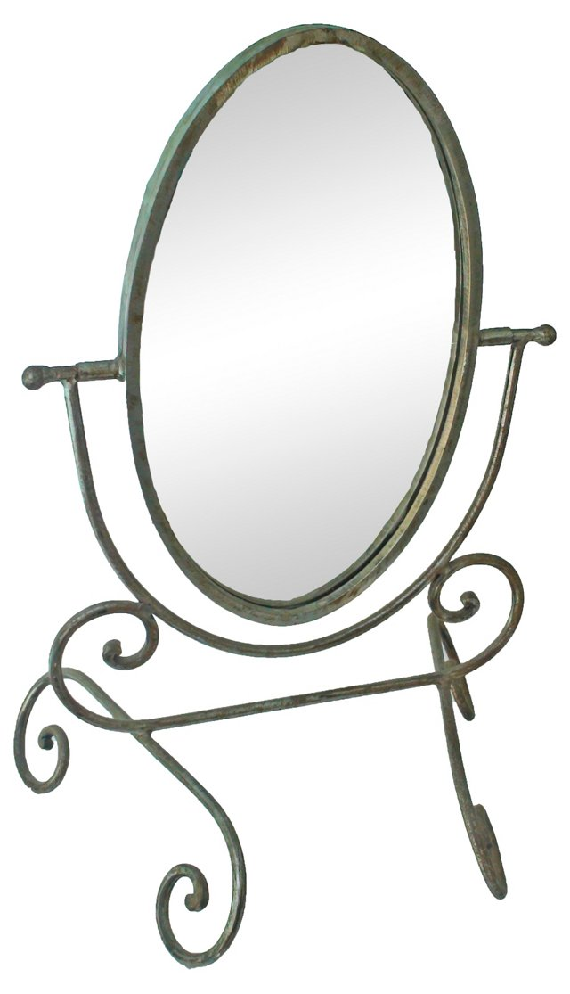 Mirror on Curled Iron Stand