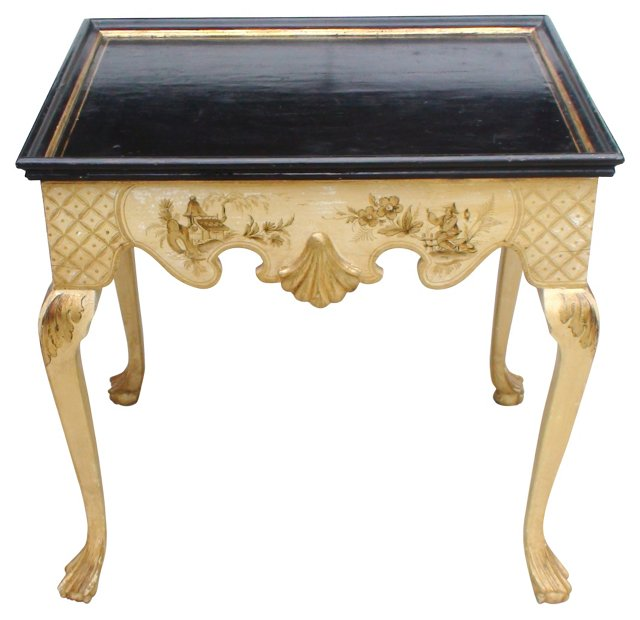 19th-C. Lacquered Chinoiserie Side Table