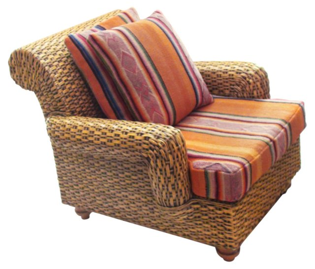Rattan Chair w/ Handloomed Cushions