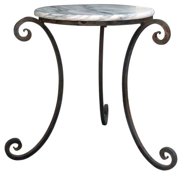 Iron & Marble  Accent Table