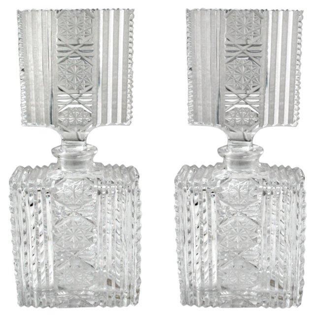 French Cut-Crystal Perfumes, Pair
