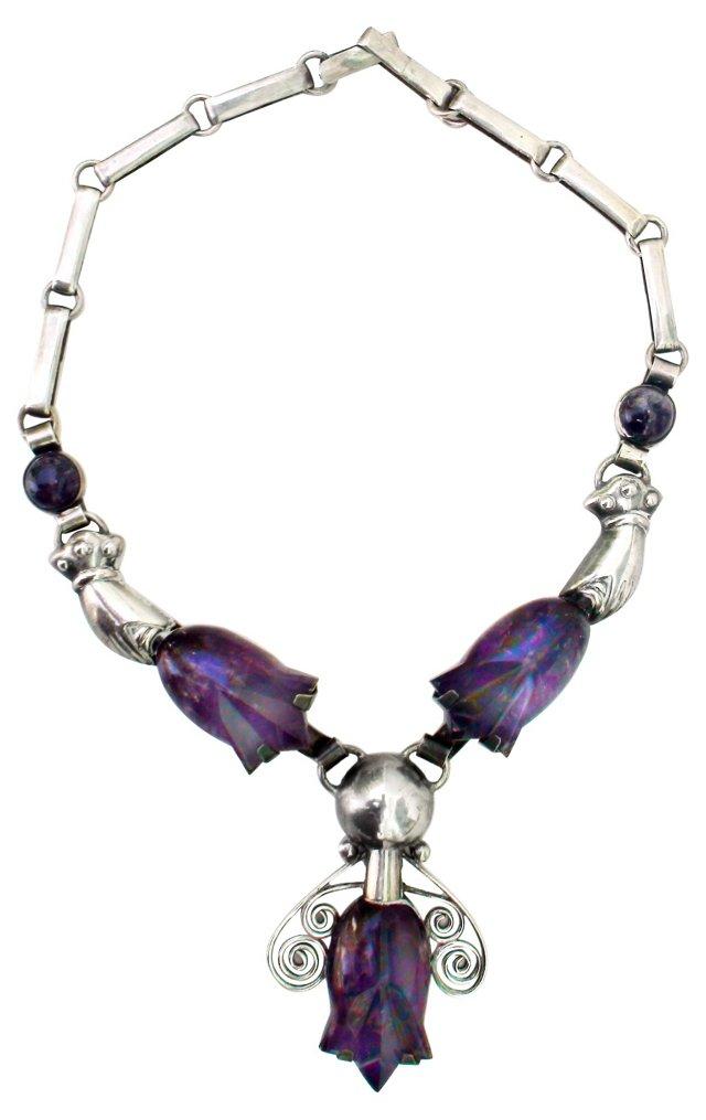 Amethyst & Sterling Bell Ringer Necklace