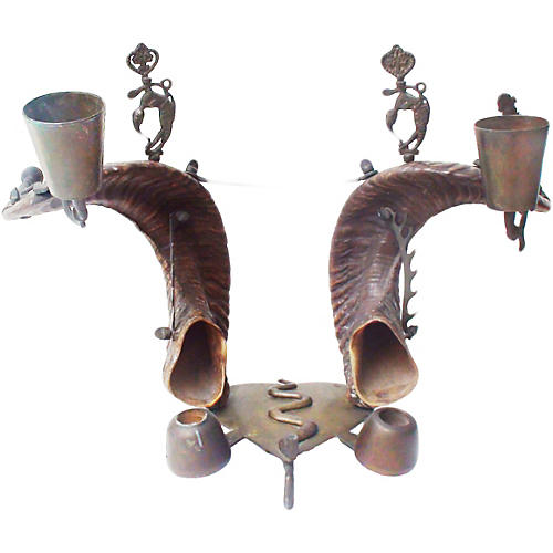 British Raj Bronze & Ram's Horn Inkwell