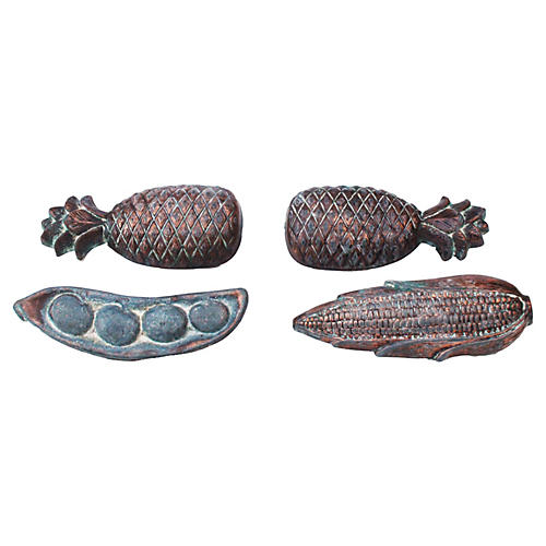 Large 19th-C. Copper Drawer Pulls, S/4