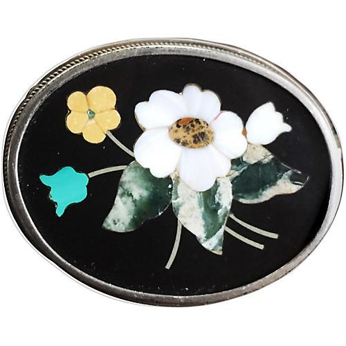 Italian Mosaic Floral Brooch