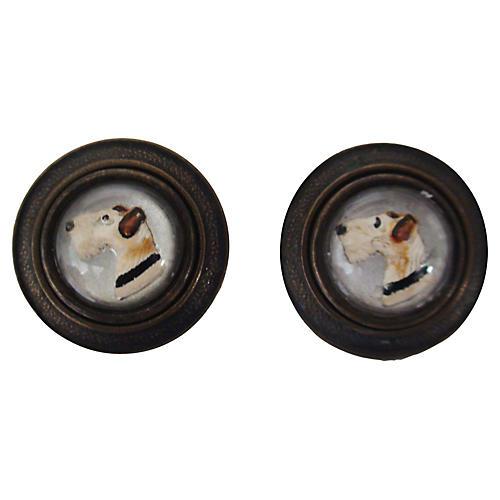 Glass Dome Fox Terrier Earrings