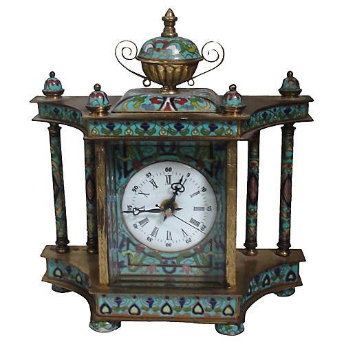 Cloisonné Bronze Columned Clock