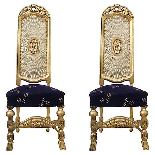 Sunburst Cane-Back Chairs, S/2