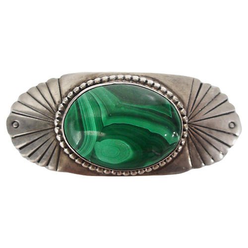 Incised Sterling & Malachite Brooch