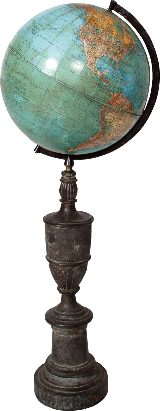 Tall Antique Globe on Bronze Base