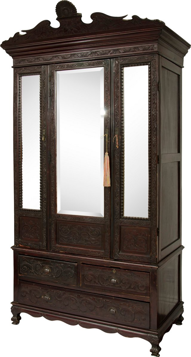 Chippendale Carved & Mirrored Cabinet