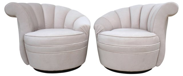 Nautilus-Style Swivel Chairs, Pair