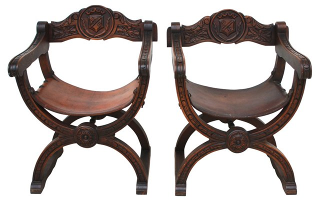 Spanish  Leather Sling Chairs, Pair