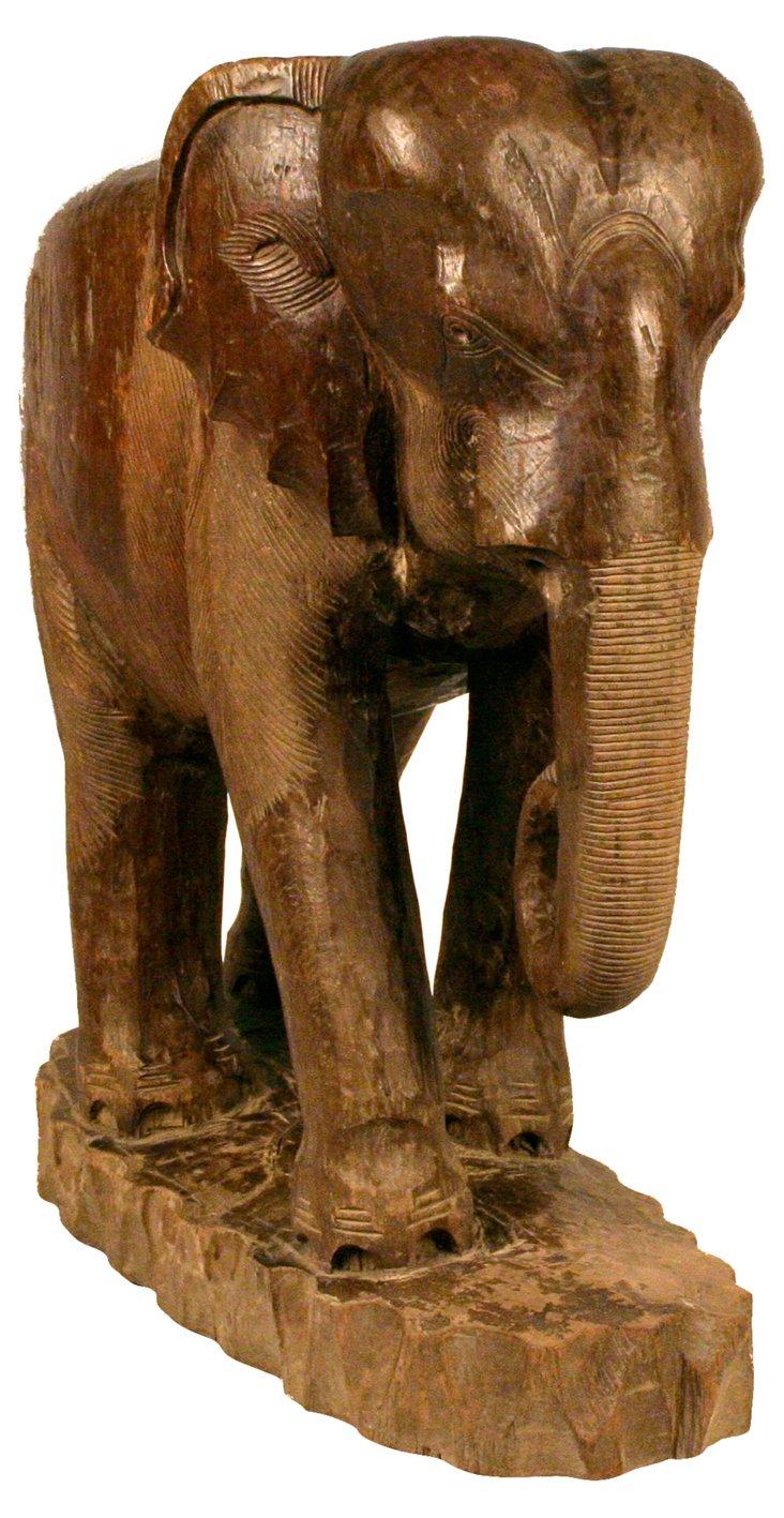 Hand-Carved Teak Elephant
