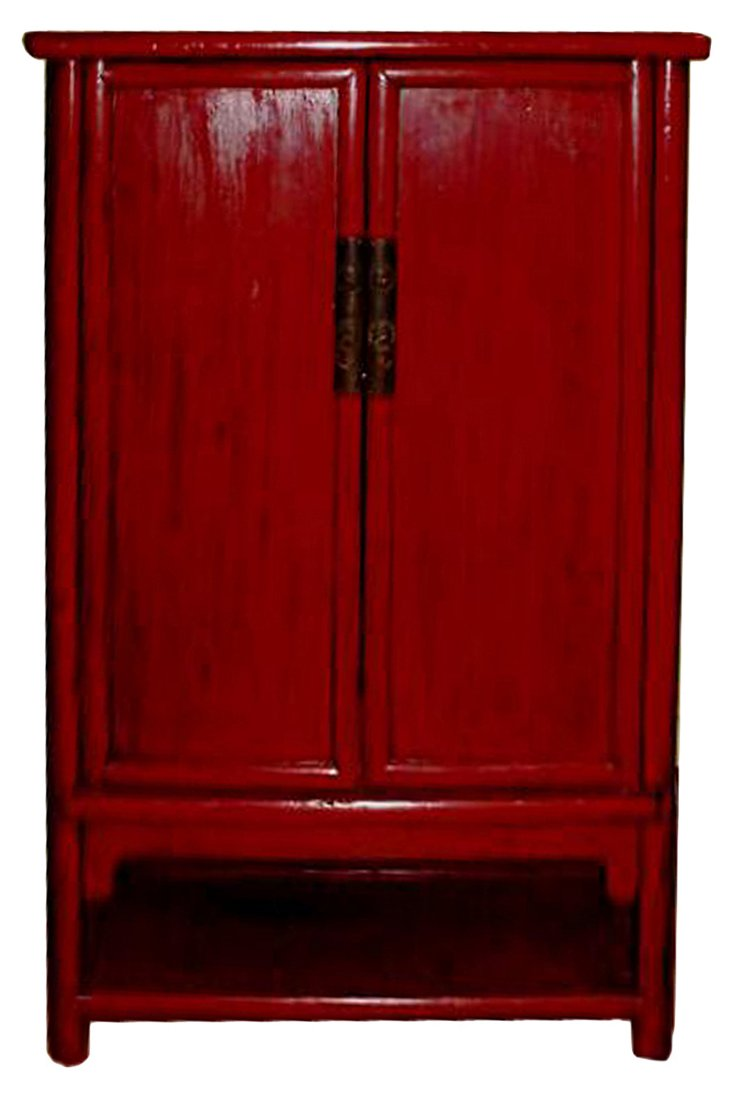Fujin Red Lacquer Cabinet, C. 1870