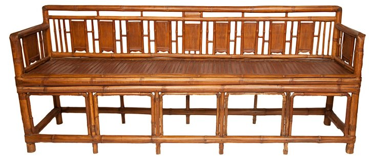 19th-C. Shanghai Bamboo Bench