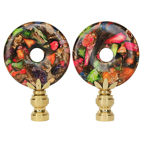 Tutti Frutti Lamp Finials, Pair